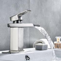 Waterfall Brushed Nickel Single Handle Bathroom Sink Faucet