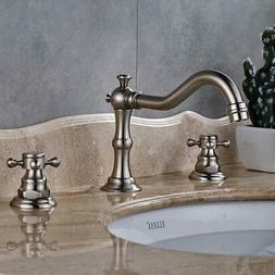 Brushed Nickel Widespread Bathroom Sink Faucet Dual Handle M