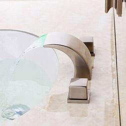 waterfall curved spout led 3 hole widespread