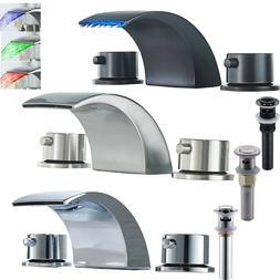 "Widespread 8"" Bathroom Basin Faucet LED Waterfall Tub Sink M"