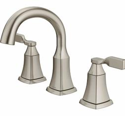 Widespread Bathroom Sink Faucet Squared Spot Shield Brushed